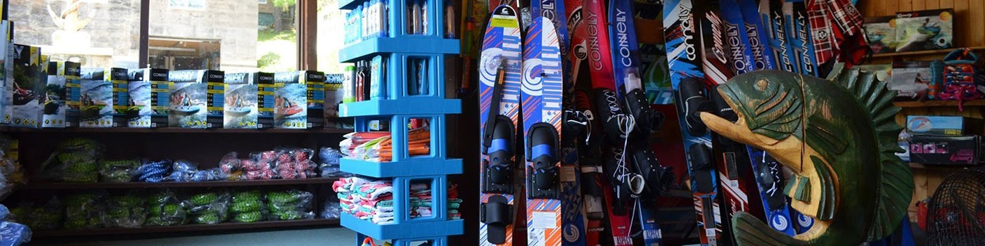 Water skis, sunscreen, floats, and more at the Marina Store