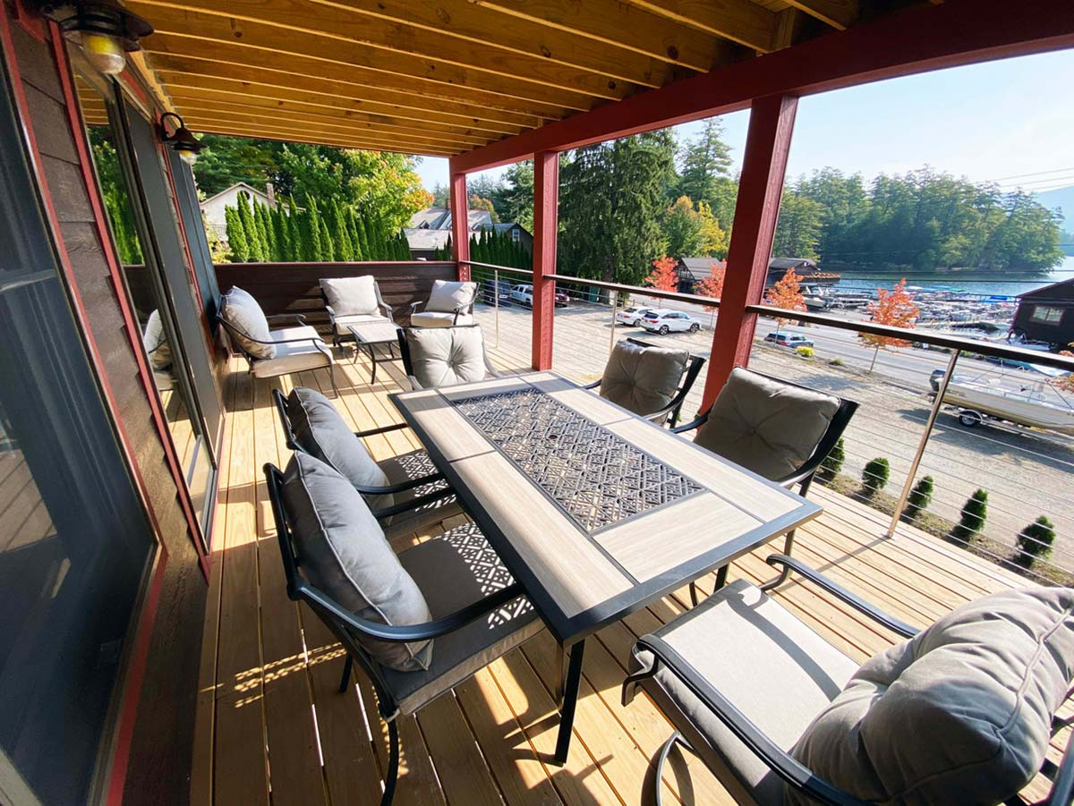 Large deck with views of Lake George