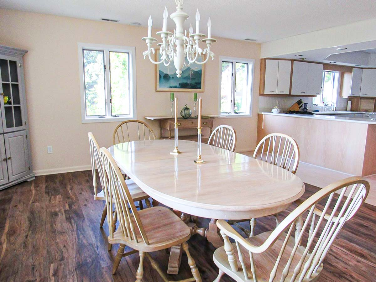 Bright dining area with table for six