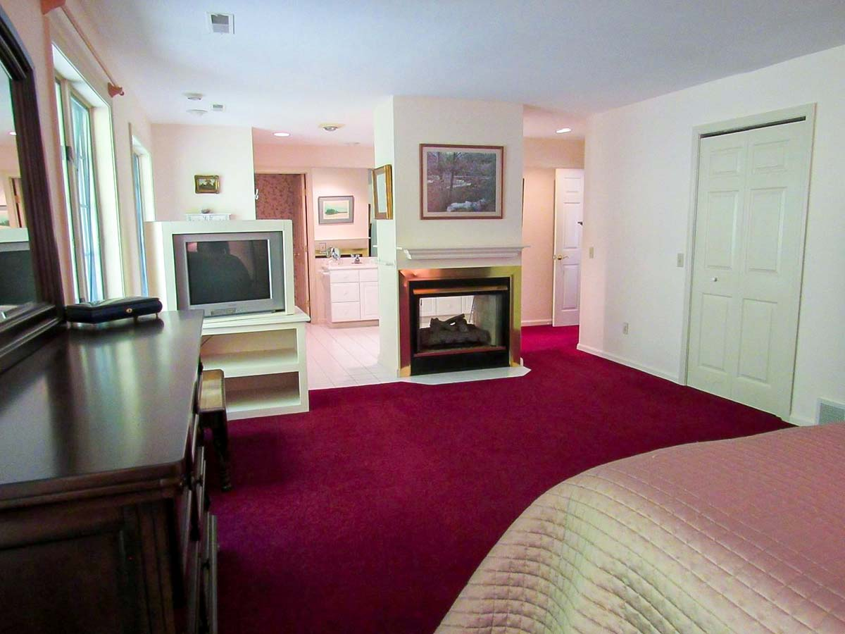 Suite with dual sided fireplace, full bath, and king bed