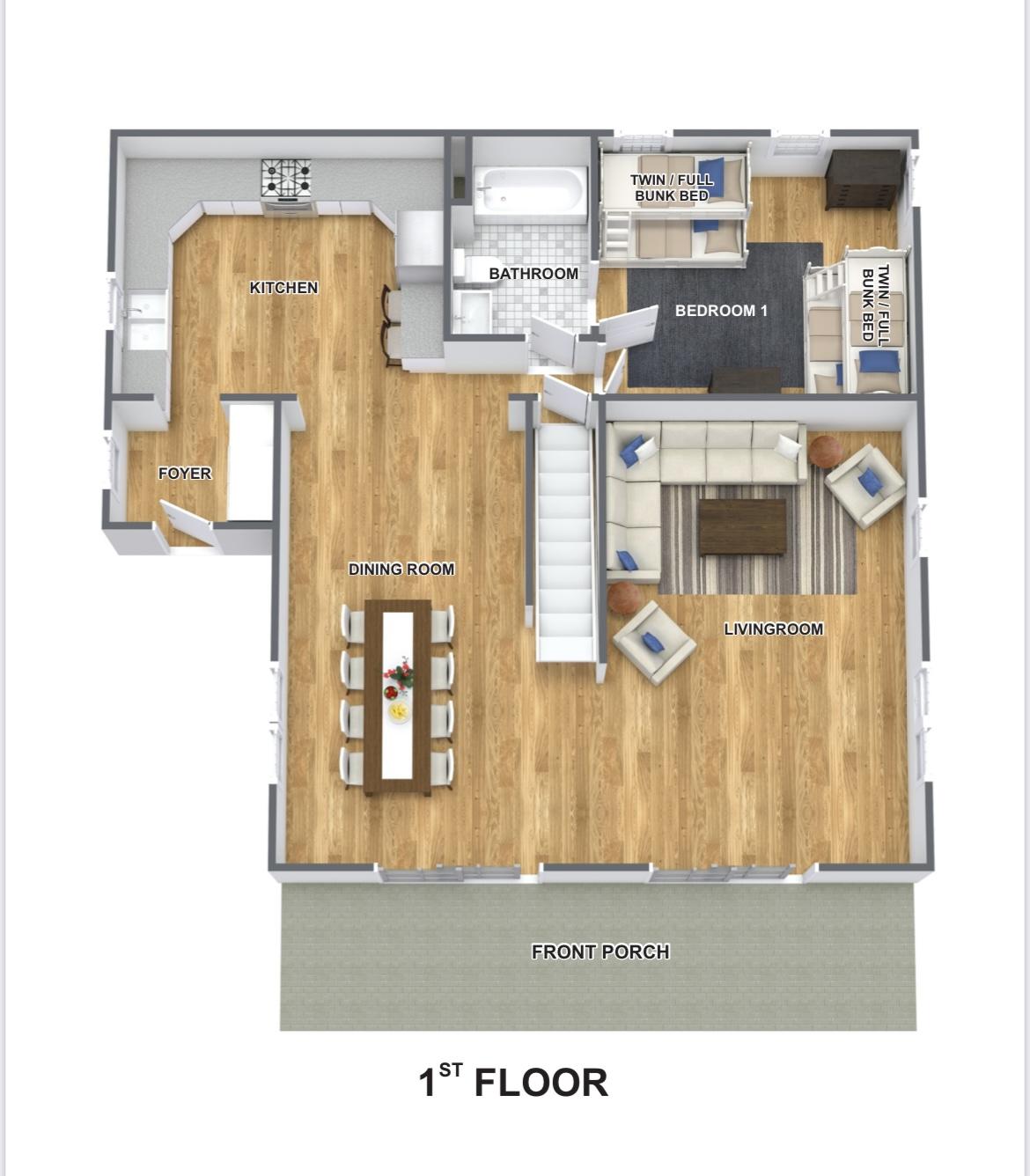 1st floor plan furnished